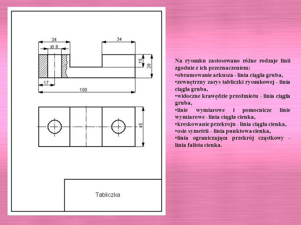 Na rysunku zastosowano różne rodzaje linii zgodnie z ich przeznaczeniem: obramowanie arkusza - linia ciągła gruba, zewnętrzny zarys tabliczki rysunkow