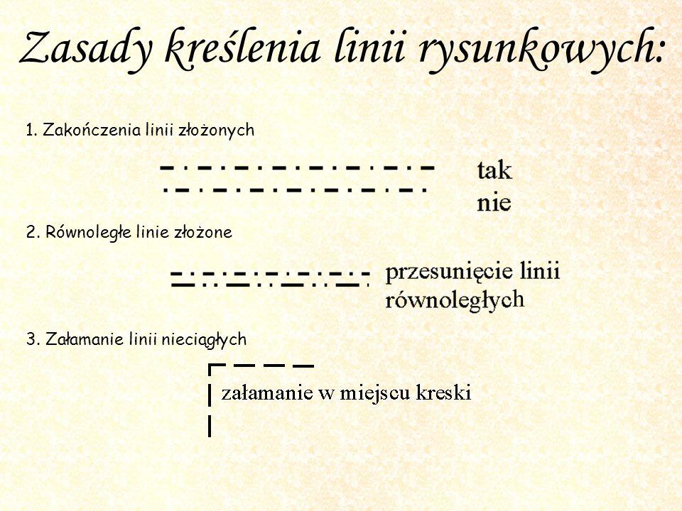 Zasady kreślenia linii rysunkowych: 1. Zakończenia linii złożonych 2. Równoległe linie złożone 3. Załamanie linii nieciągłych h