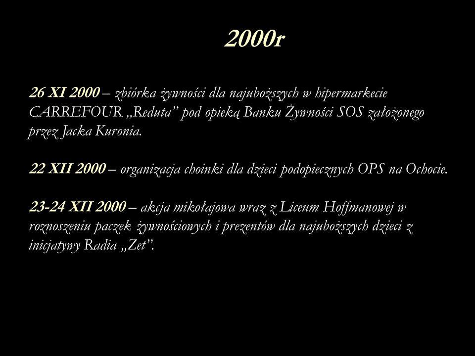 II 2001 – roznoszenie zaproszeń i obsługa sejmowej konferencji O Równość Szans Dla Dzieci i Młodzieży Niepełnosprawnej organizowanej przez stowarzyszenie Otwarte Drzwi.