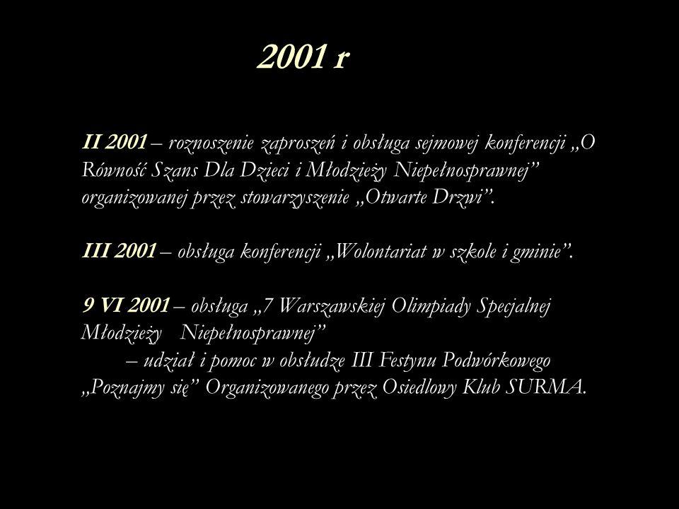 3 X 2001 – nagrodzenie uczennic naszej szkoły, poprzez wyróżnienie Joanny Skrzydlewskiej za indywidualną prace z dzieckiem autystycznym (10 letni Łukasz) w kategorii Trochę dla innych.