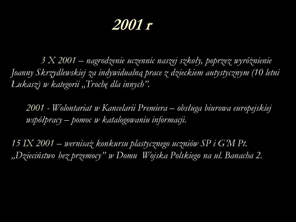 6 III 2002 – wernisaż w szkole prac plastycznych i poezji Uli i Kasi ze Stowarzyszenia Otwarte Drzwi.