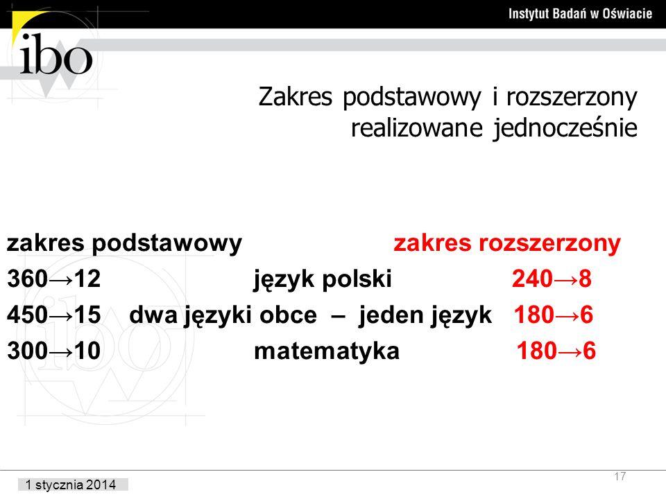 1 stycznia 2014 Zakres podstawowy i rozszerzony realizowane jednocześnie zakres podstawowy zakres rozszerzony 36012 język polski 2408 45015 dwa języki obce – jeden język 1806 30010 matematyka 1806 17