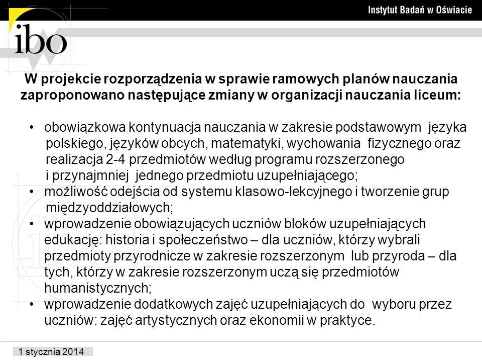 1 stycznia 2014 W projekcie rozporządzenia w sprawie ramowych planów nauczania zaproponowano następujące zmiany w organizacji nauczania liceum: obowiązkowa kontynuacja nauczania w zakresie podstawowym języka polskiego, języków obcych, matematyki, wychowania fizycznego oraz realizacja 2-4 przedmiotów według programu rozszerzonego i przynajmniej jednego przedmiotu uzupełniającego; możliwość odejścia od systemu klasowo-lekcyjnego i tworzenie grup międzyoddziałowych; wprowadzenie obowiązujących uczniów bloków uzupełniających edukację: historia i społeczeństwo – dla uczniów, którzy wybrali przedmioty przyrodnicze w zakresie rozszerzonym lub przyroda – dla tych, którzy w zakresie rozszerzonym uczą się przedmiotów humanistycznych; wprowadzenie dodatkowych zajęć uzupełniających do wyboru przez uczniów: zajęć artystycznych oraz ekonomii w praktyce.