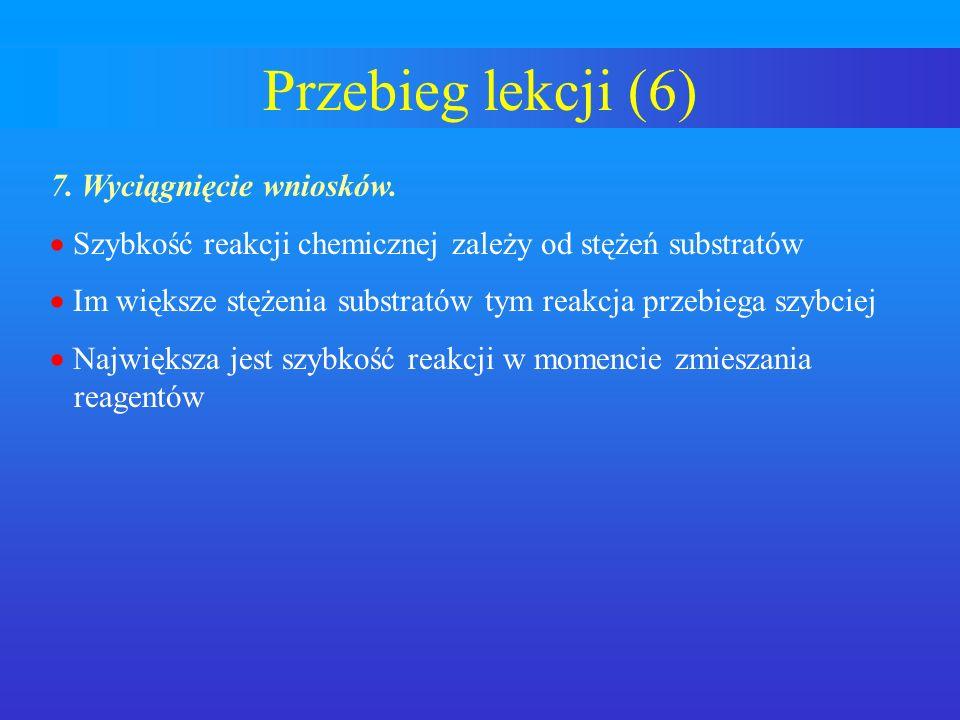 Przebieg lekcji (6) 7. Wyciągnięcie wniosków. Szybkość reakcji chemicznej zależy od stężeń substratów Im większe stężenia substratów tym reakcja przeb