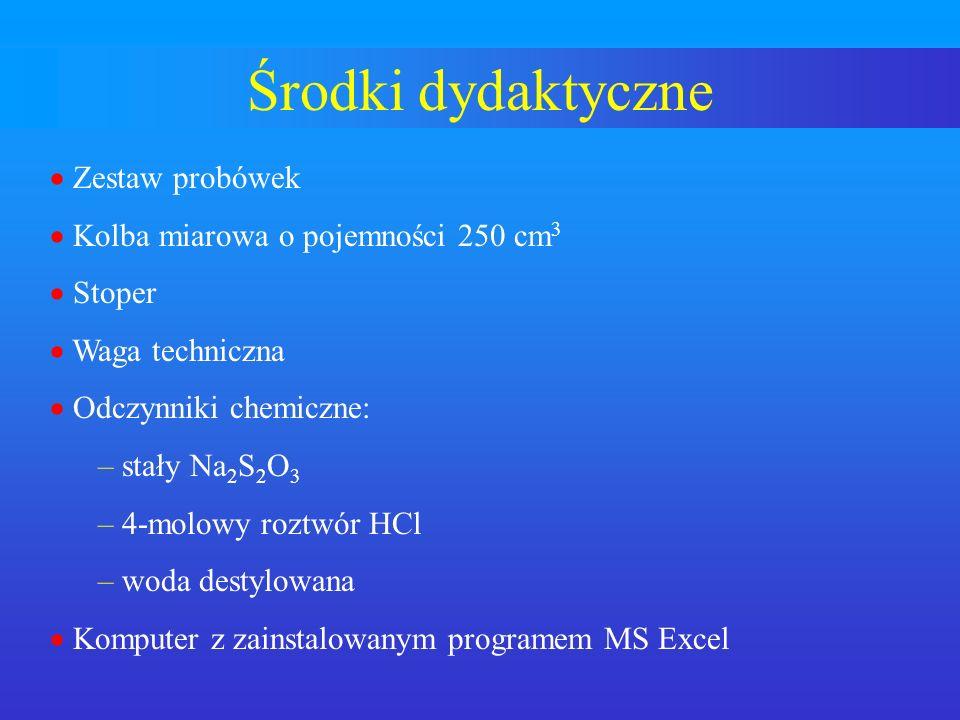 Środki dydaktyczne Zestaw probówek Kolba miarowa o pojemności 250 cm 3 Stoper Waga techniczna Odczynniki chemiczne: – stały Na 2 S 2 O 3 – 4-molowy ro