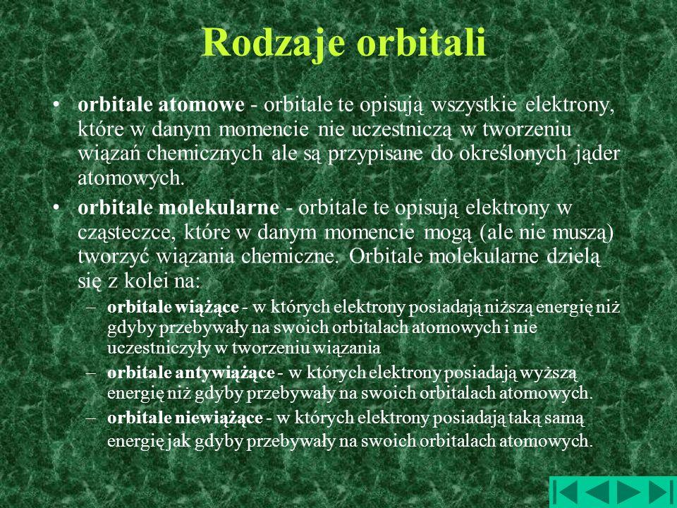 Rodzaje orbitali orbitale atomowe - orbitale te opisują wszystkie elektrony, które w danym momencie nie uczestniczą w tworzeniu wiązań chemicznych ale