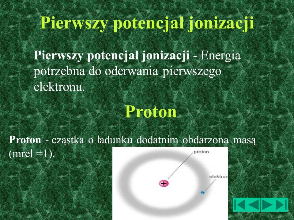 Pierwszy potencjał jonizacji Pierwszy potencjał jonizacji - Energia potrzebna do oderwania pierwszego elektronu. Proton - cząstka o ładunku dodatnim o