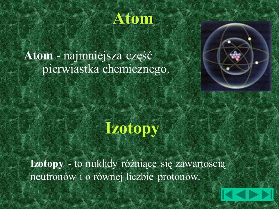 Atom - najmniejsza część pierwiastka chemicznego. Atom Izotopy - to nuklidy różniące się zawartością neutronów i o równej liczbie protonów. Izotopy