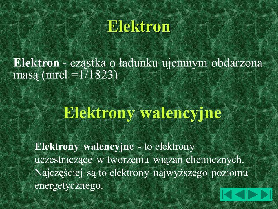 Elektron - cząstka o ładunku ujemnym obdarzona masą (mrel =1/1823) Elektron Elektrony walencyjne - to elektrony uczestniczące w tworzeniu wiązań chemi