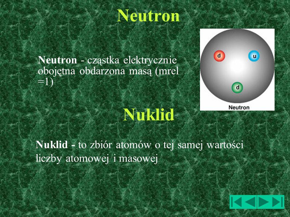 Neutron Neutron - cząstka elektrycznie obojętna obdarzona masą (mrel =1) Nuklid - to zbiór atomów o tej samej wartości liczby atomowej i masowej Nukli