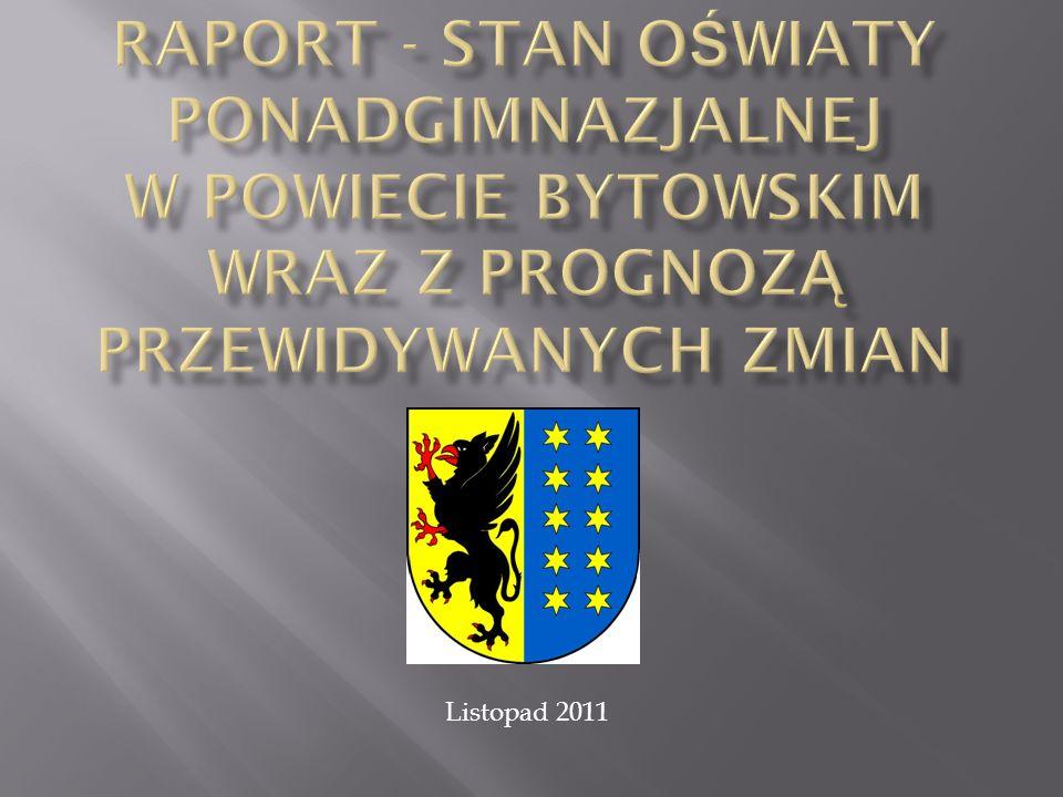 STAN AKTUALNY Powiat Bytowski jest organem prowadzącym dla sześciu zespołów szkół ponadgimnazjalnych, w których w roku szkolnym 2011/2012 uczy się 2786 uczniów w 117 oddziałach (dane wg arkuszy organizacyjnych).