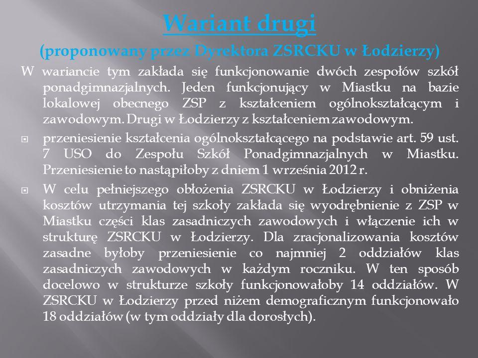 Wariant drugi (proponowany przez Dyrektora ZSRCKU w Łodzierzy) W wariancie tym zakłada się funkcjonowanie dwóch zespołów szkół ponadgimnazjalnych. Jed