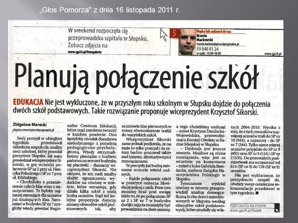 Głos Pomorza z dnia 16 listopada 2011 r.