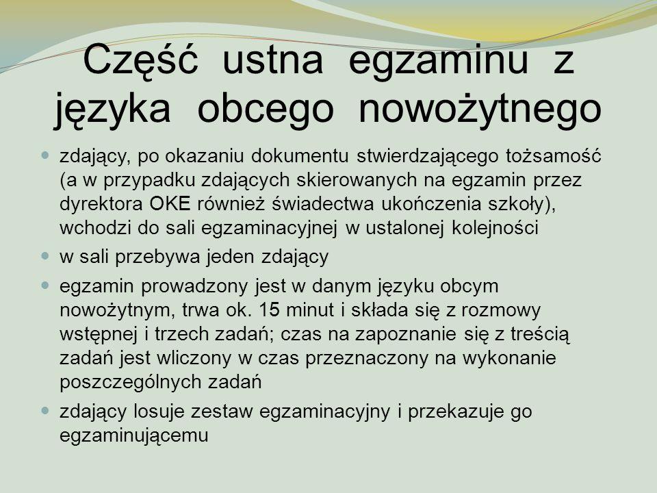 Część ustna egzaminu z języka obcego nowożytnego zdający, po okazaniu dokumentu stwierdzającego tożsamość (a w przypadku zdających skierowanych na egz