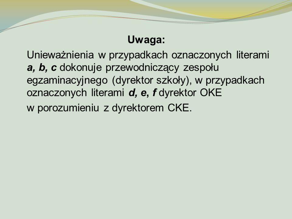 Uwaga: Unieważnienia w przypadkach oznaczonych literami a, b, c dokonuje przewodniczący zespołu egzaminacyjnego (dyrektor szkoły), w przypadkach oznac