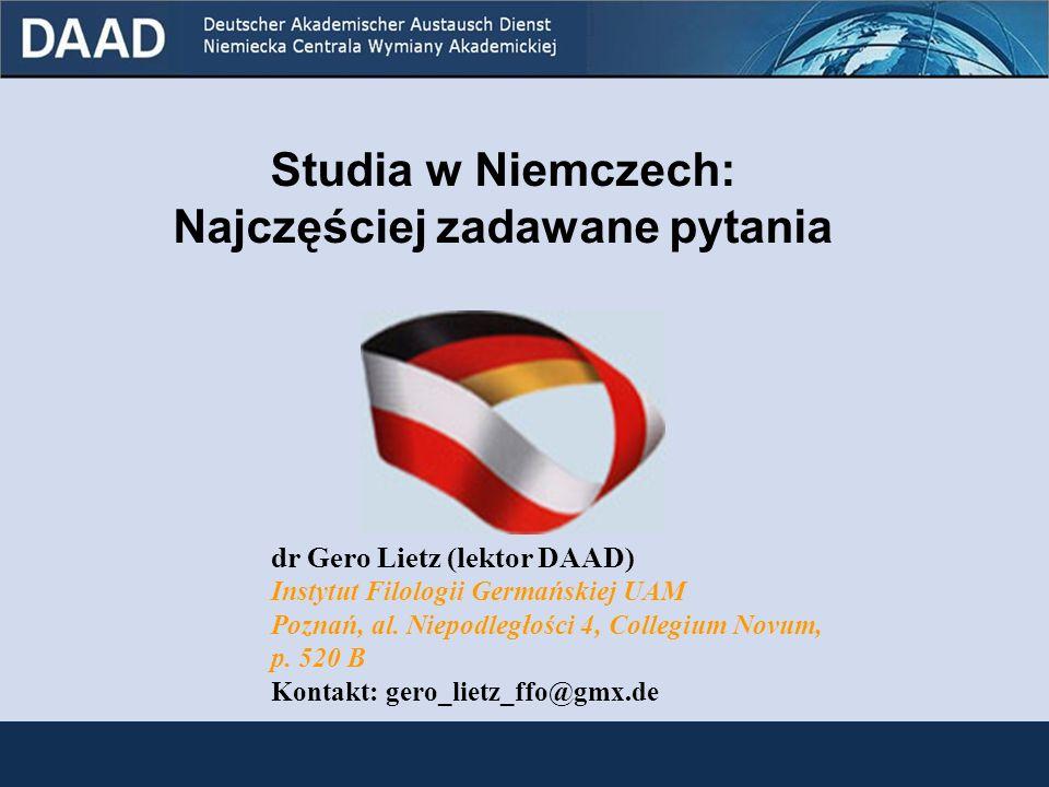 Wniosek o przyjęcie na studia składamy zazwyczaj: w Dziale Współpracy z Zagranicą (Akademisches Auslandsamt) wybranej uczelni; w terminie do 15 lipca na semestr zimowy oraz do 15 stycznia na semestr letni.
