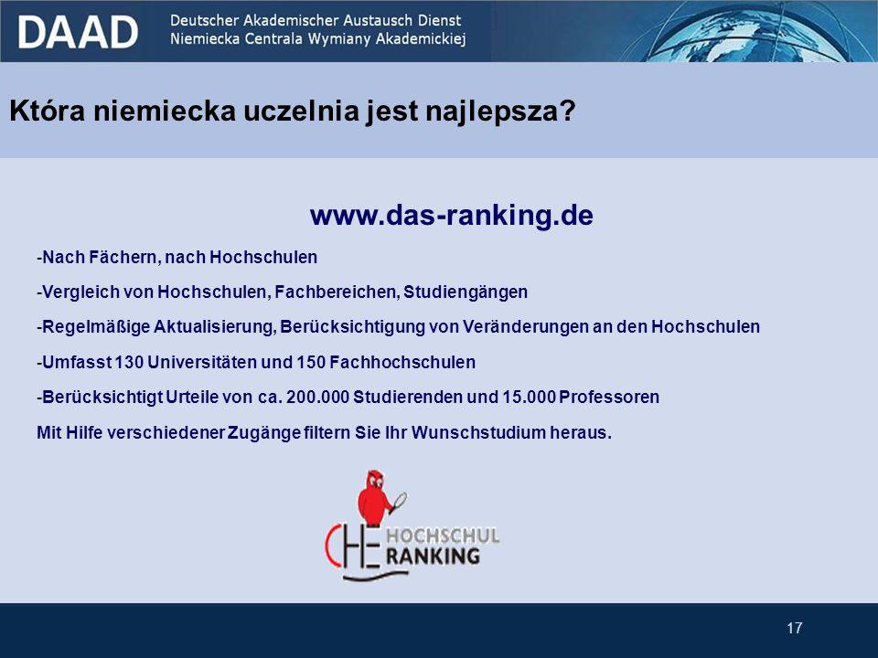 Która niemiecka uczelnia jest najlepsza? www.das-ranking.de -Nach Fächern, nach Hochschulen -Vergleich von Hochschulen, Fachbereichen, Studiengängen -
