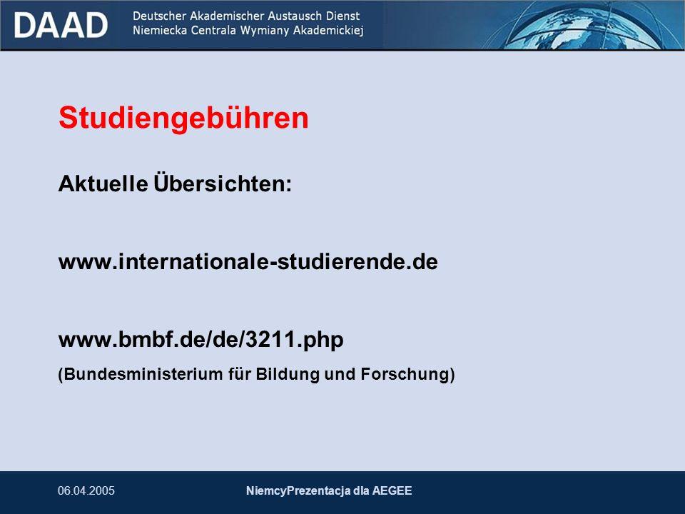 06.04.2005NiemcyPrezentacja dla AEGEE Studiengebühren Aktuelle Übersichten: www.internationale-studierende.de www.bmbf.de/de/3211.php (Bundesministeri