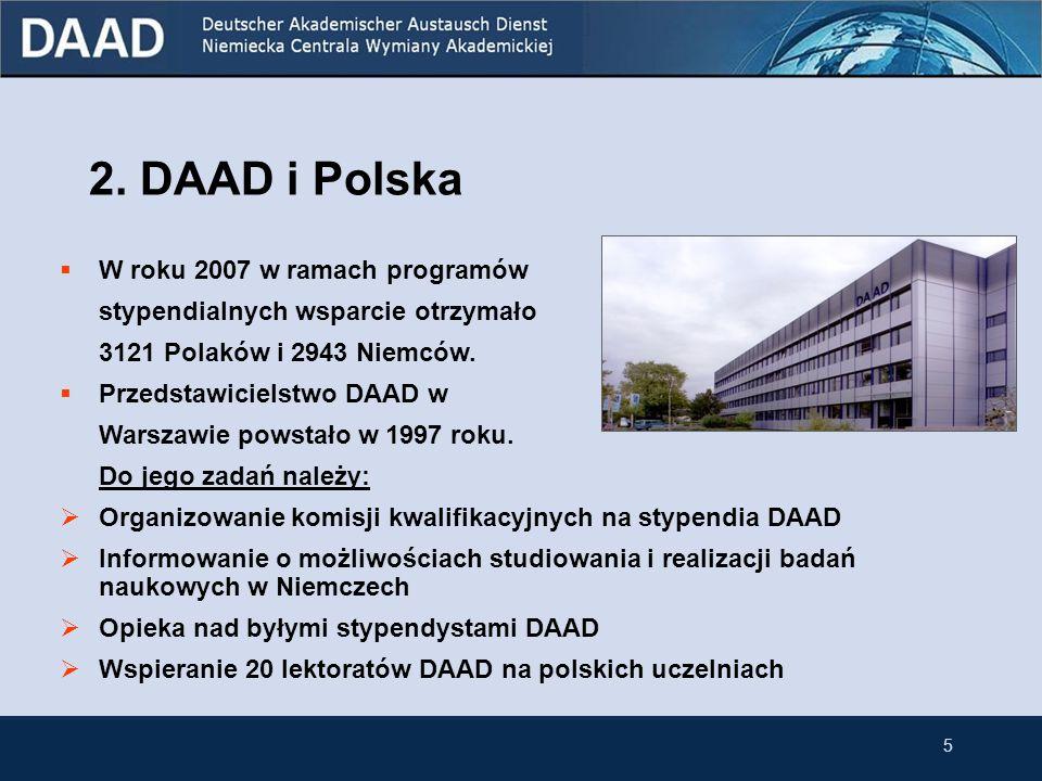 5 2. DAAD i Polska W roku 2007 w ramach programów stypendialnych wsparcie otrzymało 3121 Polaków i 2943 Niemców. Przedstawicielstwo DAAD w Warszawie p