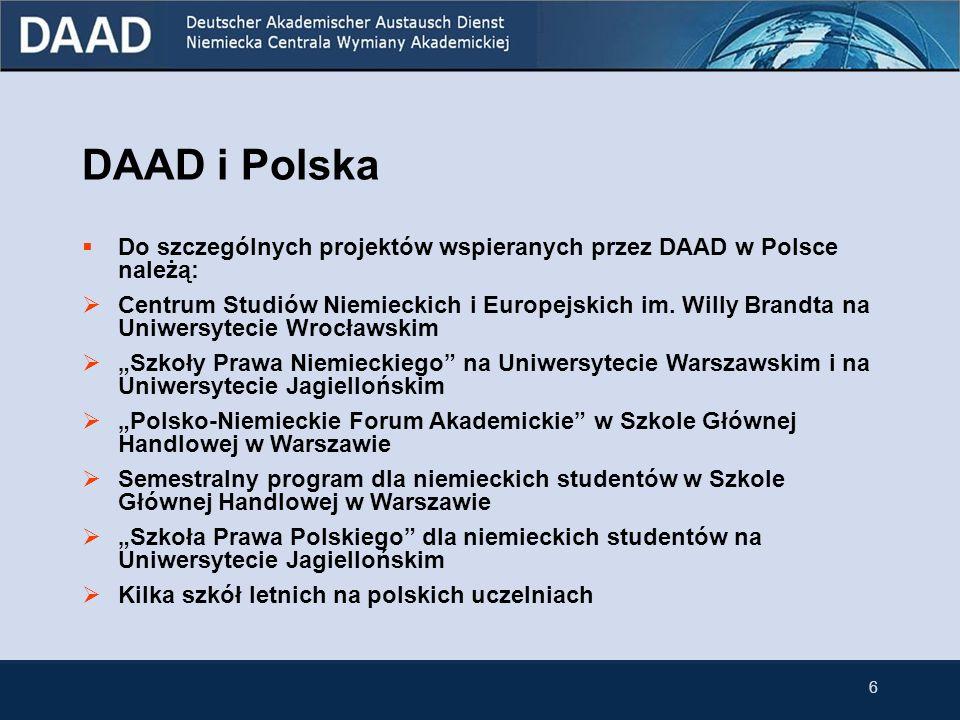 6 DAAD i Polska Do szczególnych projektów wspieranych przez DAAD w Polsce należą: Centrum Studiów Niemieckich i Europejskich im. Willy Brandta na Uniw