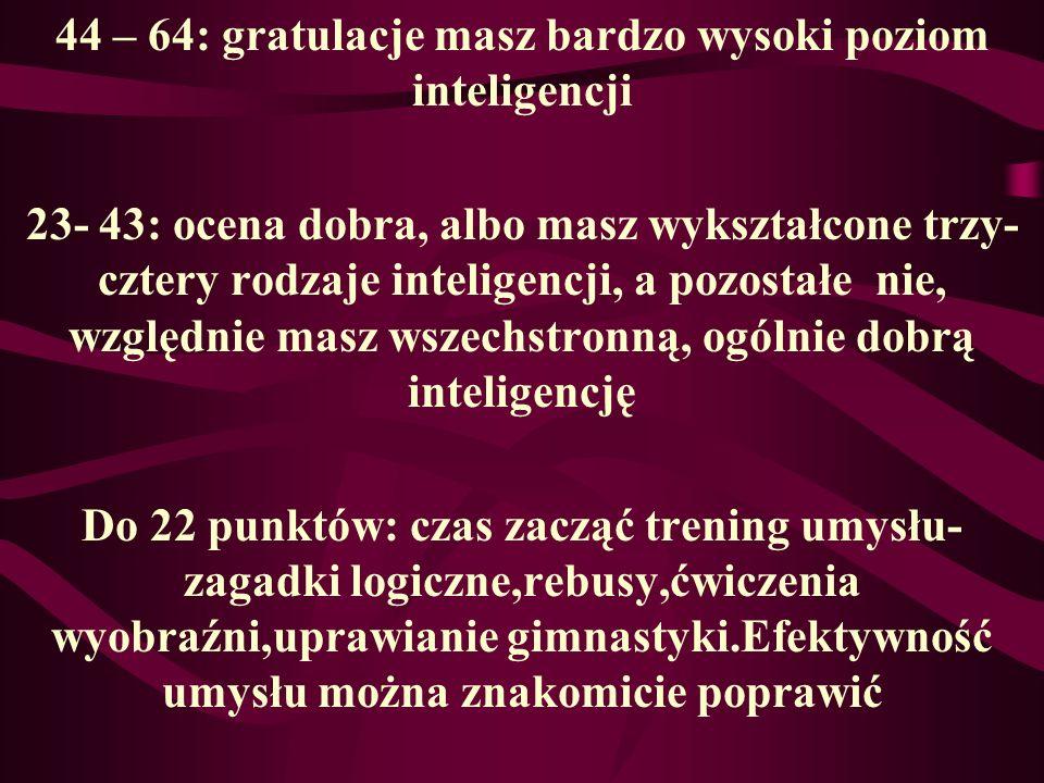 Policz sumę punktów Językowa : 1, 9, 17, 25, 33, 41, 49, 57 Logiczna: 2, 10, 18, 26, 34, 42, 50, 58 Ruchowa : 3, 11, 19, 27, 35, 43, 51, 59 Przyrodnic