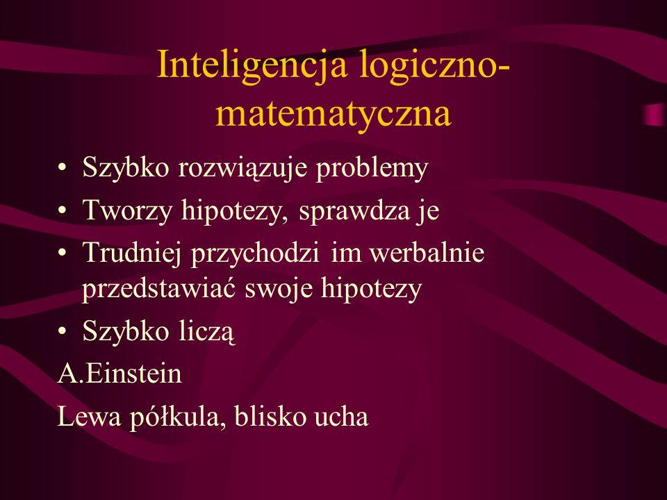 Inteligencja słowna Bogate słownictwo Poprawność językowa Ładnie się wypowiada Ma łatwość pisania Aktorzy,prezenterzy,nauczyciele, prawnicy, literaci