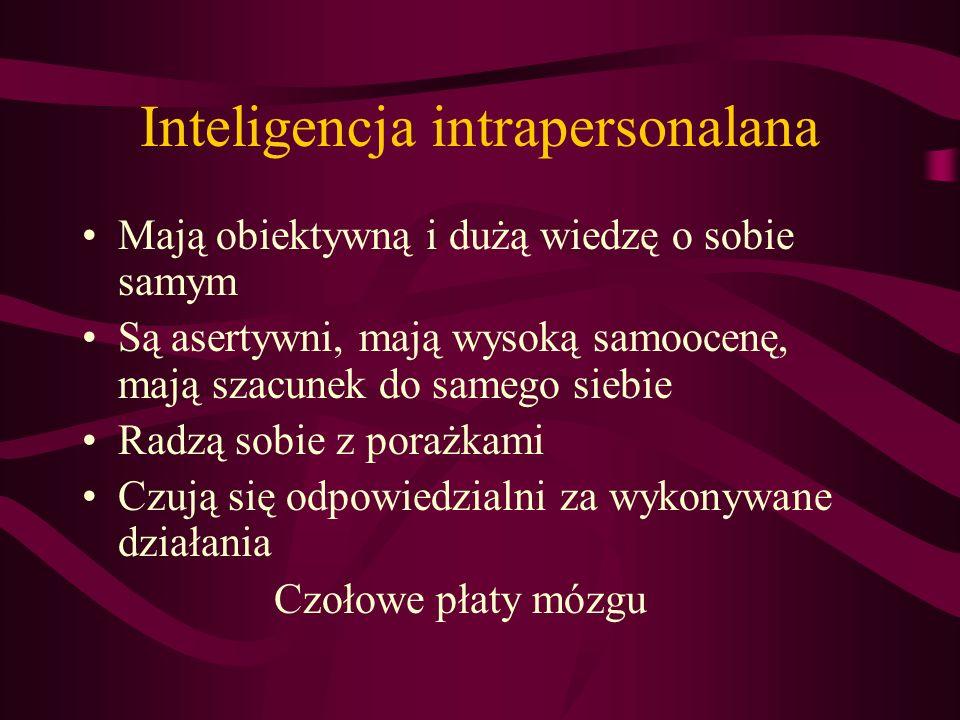 Inteligencja interpersonalna, społeczna Są empatyczni Łatwo zdobywają autorytet przywódczy Potrafią i chętnie współdziałają Umiejętnie rozwiązują konf