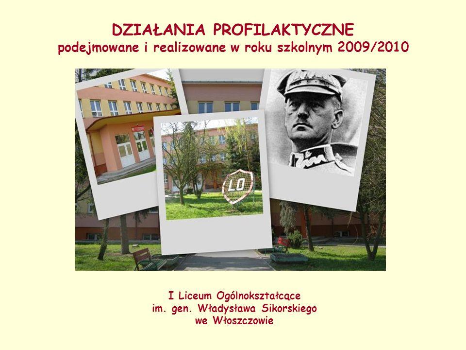 DZIAŁANIA PROFILAKTYCZNE podejmowane i realizowane w roku szkolnym 2009/2010 I Liceum Ogólnokształcące im. gen. Władysława Sikorskiego we Włoszczowie