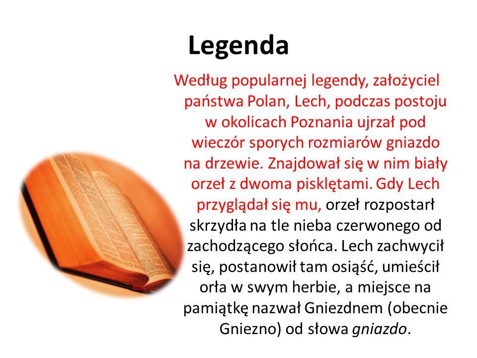 Legenda Według popularnej legendy, założyciel państwa Polan, Lech, podczas postoju w okolicach Poznania ujrzał pod wieczór sporych rozmiarów gniazdo n
