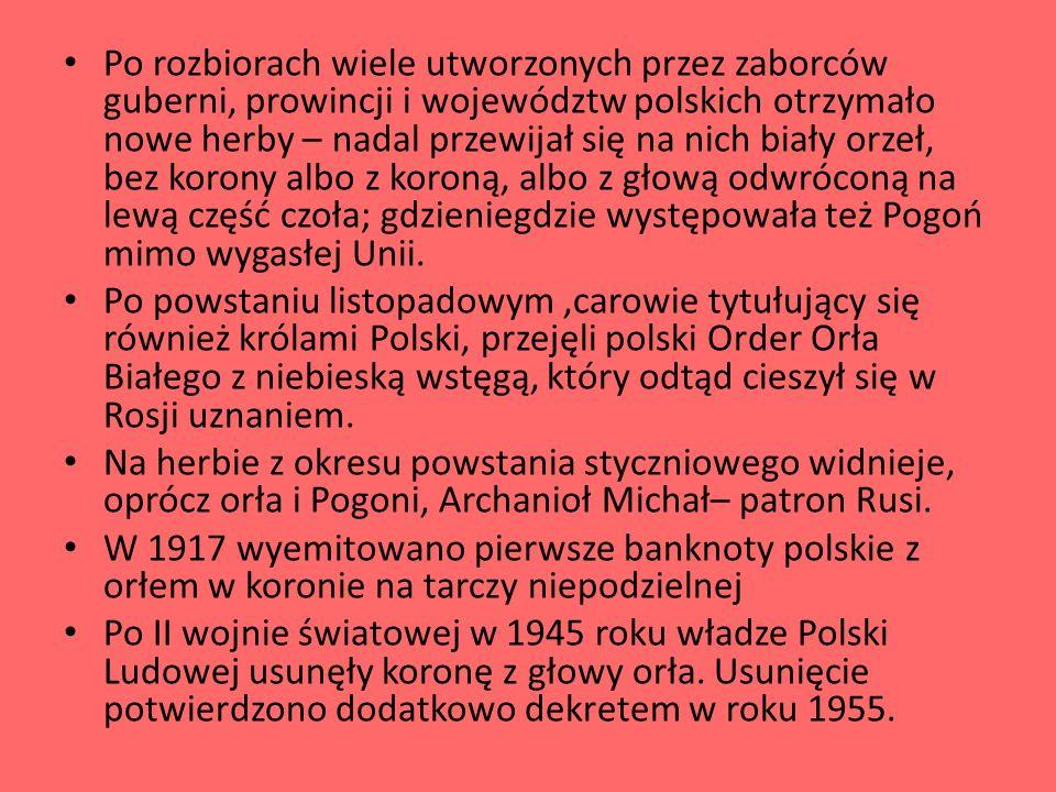 Po rozbiorach wiele utworzonych przez zaborców guberni, prowincji i województw polskich otrzymało nowe herby – nadal przewijał się na nich biały orzeł