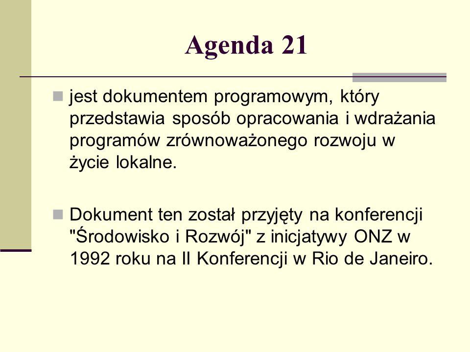 Agenda 21 jest dokumentem programowym, który przedstawia sposób opracowania i wdrażania programów zrównoważonego rozwoju w życie lokalne. Dokument ten