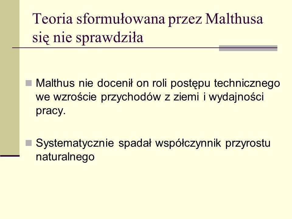 Teoria sformułowana przez Malthusa się nie sprawdziła Malthus nie docenił on roli postępu technicznego we wzroście przychodów z ziemi i wydajności pra