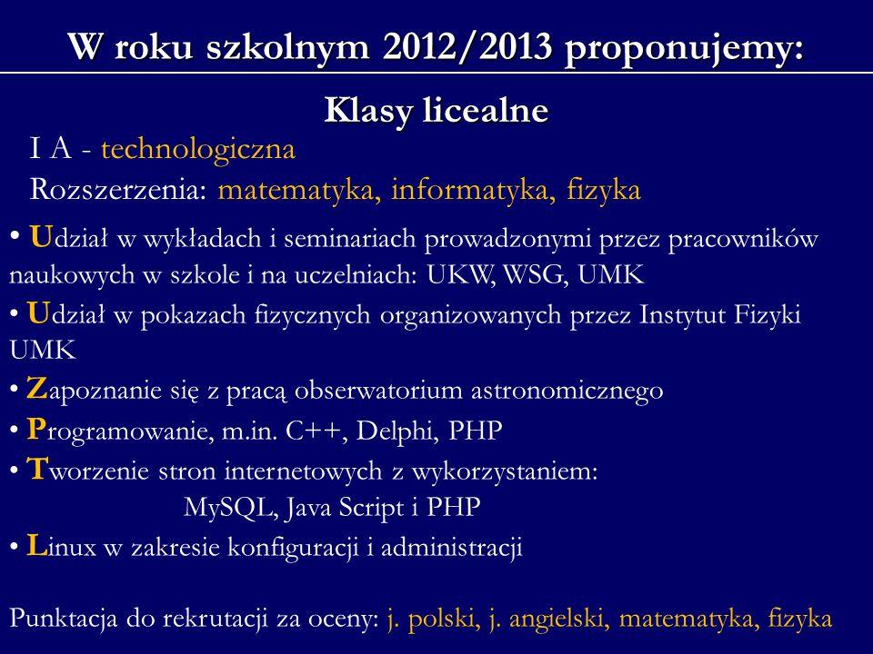 W roku szkolnym 2012/2013 proponujemy: Klasy licealne I A - technologiczna Rozszerzenia: matematyka, informatyka, fizyka U dział w wykładach i seminar