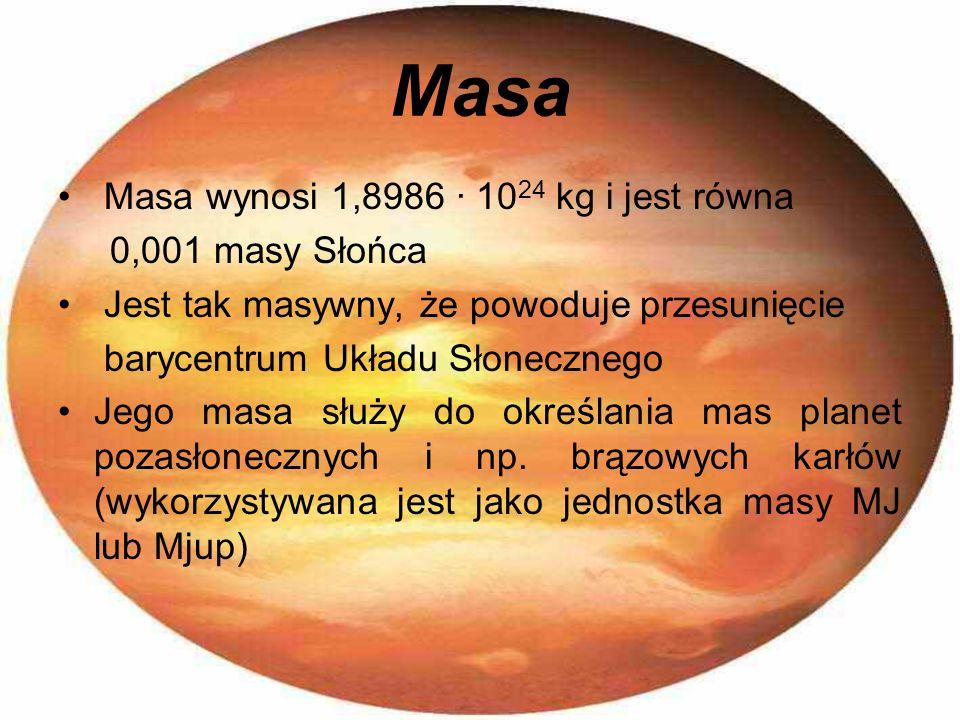 Masa Masa wynosi 1,8986 · 10 24 kg i jest równa 0,001 masy Słońca Jest tak masywny, że powoduje przesunięcie barycentrum Układu Słonecznego Jego masa
