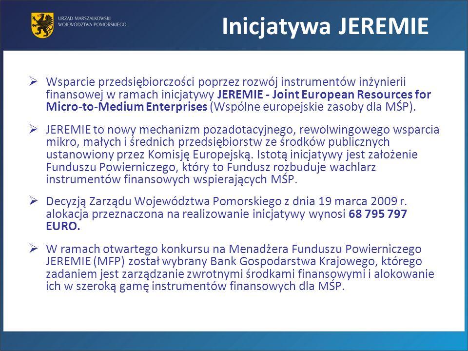 Inicjatywa JEREMIE Wsparcie przedsiębiorczości poprzez rozwój instrumentów inżynierii finansowej w ramach inicjatywy JEREMIE - Joint European Resource