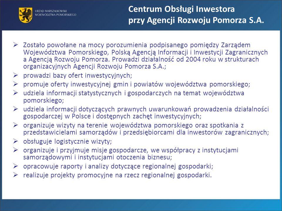 Zostało powołane na mocy porozumienia podpisanego pomiędzy Zarządem Województwa Pomorskiego, Polską Agencją Informacji i Inwestycji Zagranicznych a Ag