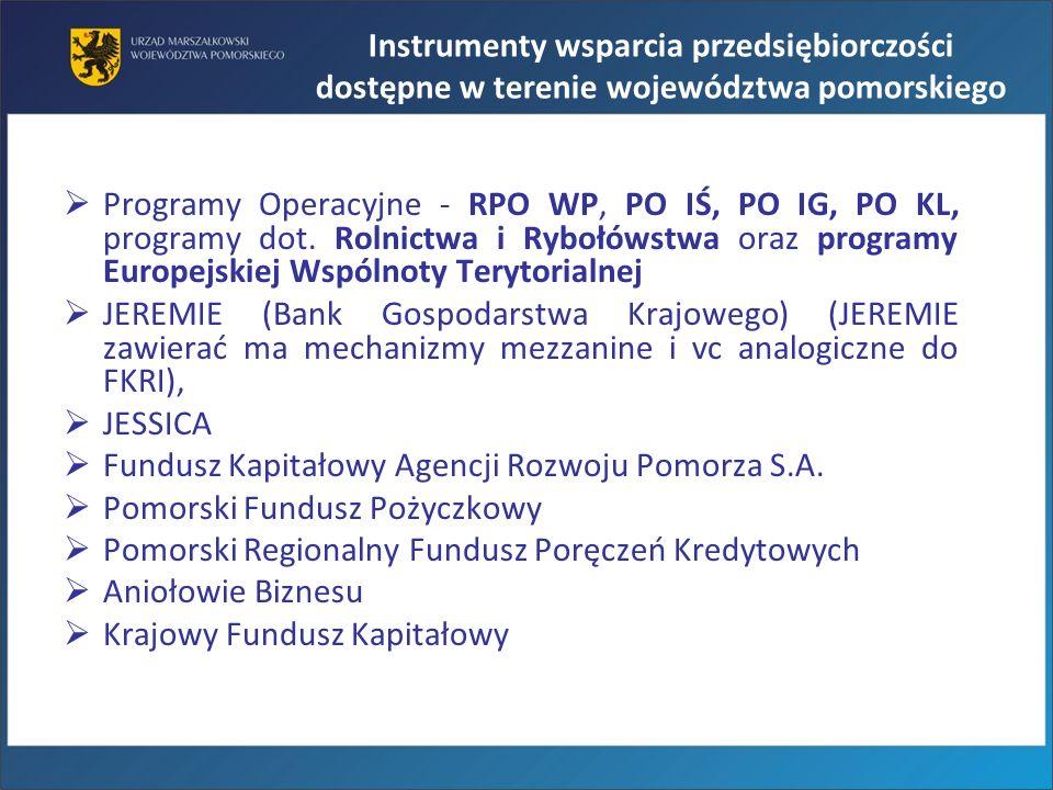 Programy Operacyjne - RPO WP, PO IŚ, PO IG, PO KL, programy dot. Rolnictwa i Rybołówstwa oraz programy Europejskiej Wspólnoty Terytorialnej JEREMIE (B