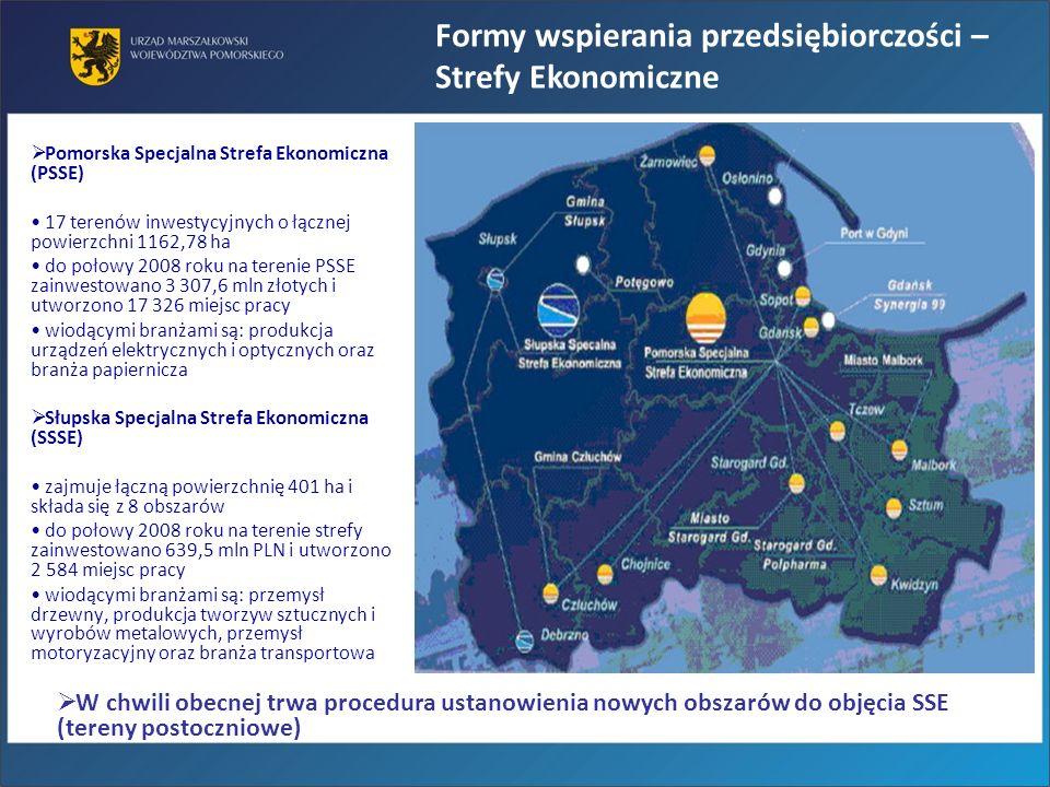 Pomorska Specjalna Strefa Ekonomiczna (PSSE) 17 terenów inwestycyjnych o łącznej powierzchni 1162,78 ha do połowy 2008 roku na terenie PSSE zainwestow