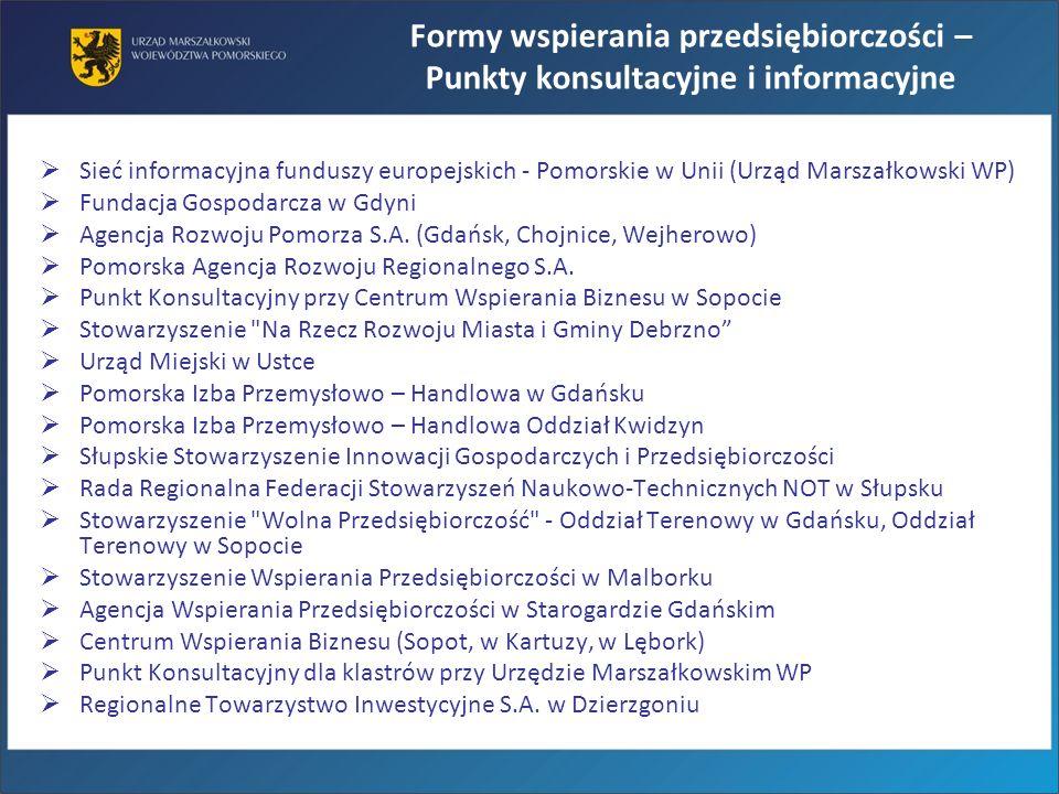 Sieć informacyjna funduszy europejskich - Pomorskie w Unii (Urząd Marszałkowski WP) Fundacja Gospodarcza w Gdyni Agencja Rozwoju Pomorza S.A. (Gdańsk,