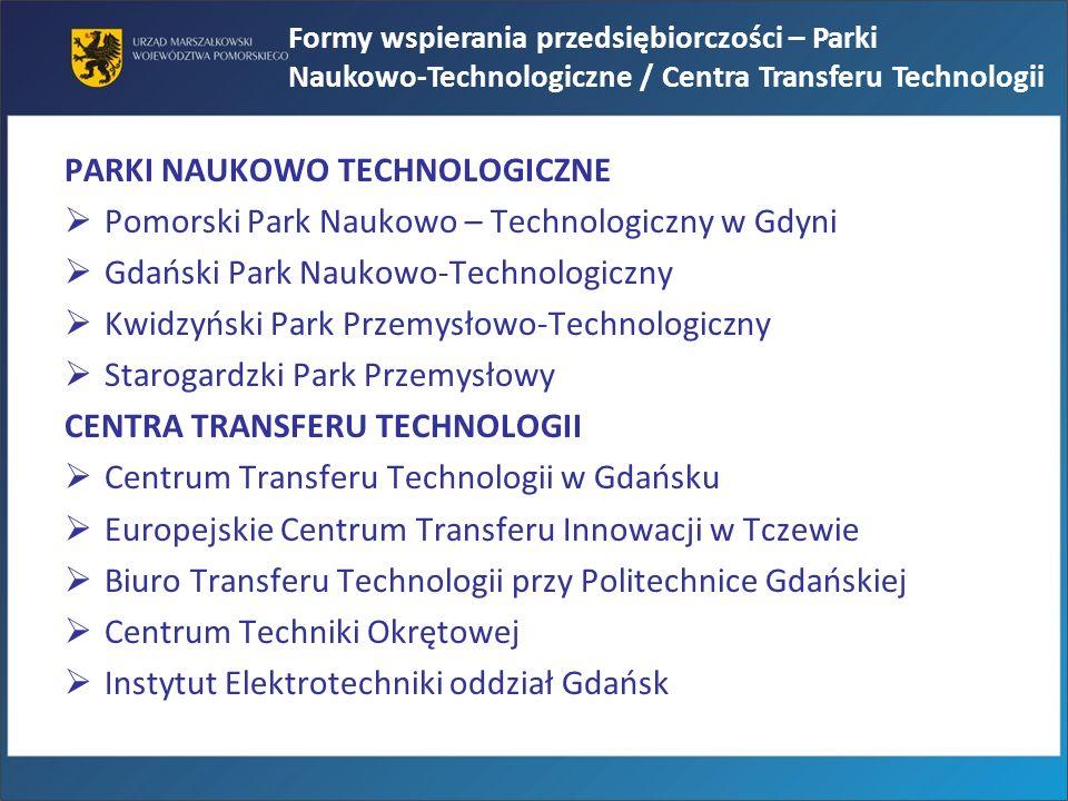 PARKI NAUKOWO TECHNOLOGICZNE Pomorski Park Naukowo – Technologiczny w Gdyni Gdański Park Naukowo-Technologiczny Kwidzyński Park Przemysłowo-Technologi