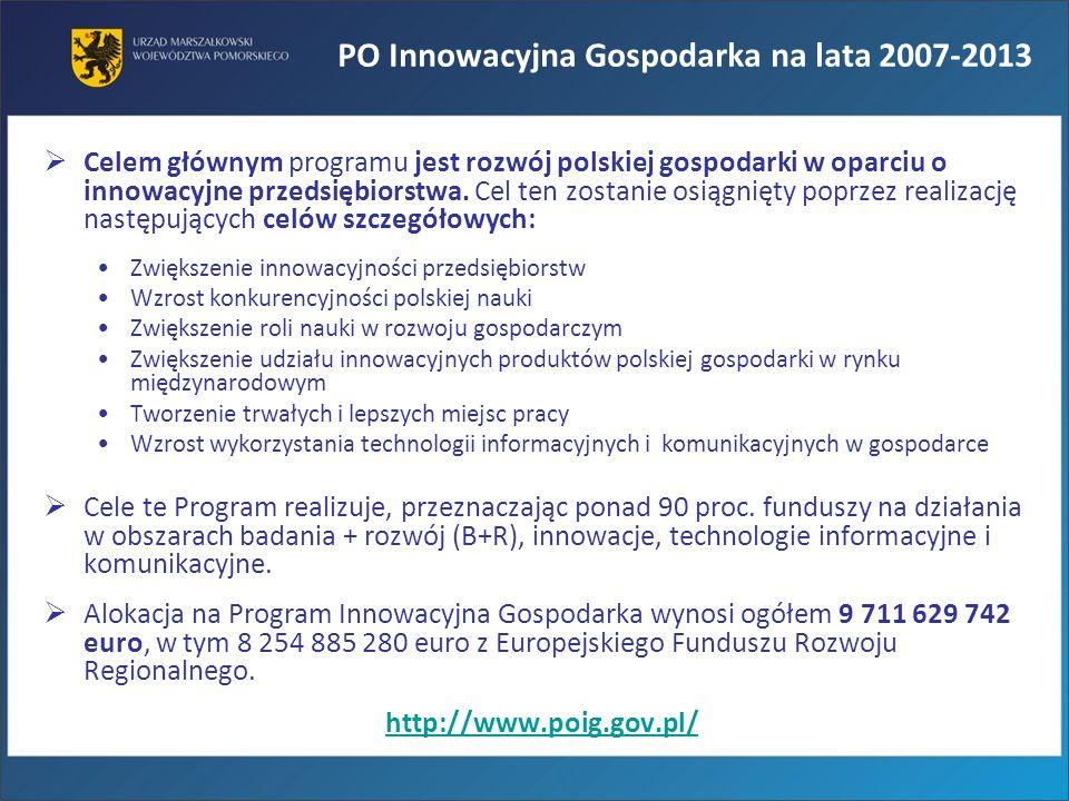Celem głównym programu jest rozwój polskiej gospodarki w oparciu o innowacyjne przedsiębiorstwa. Cel ten zostanie osiągnięty poprzez realizację następ