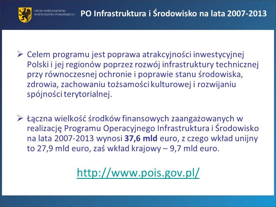 Celem programu jest poprawa atrakcyjności inwestycyjnej Polski i jej regionów poprzez rozwój infrastruktury technicznej przy równoczesnej ochronie i p