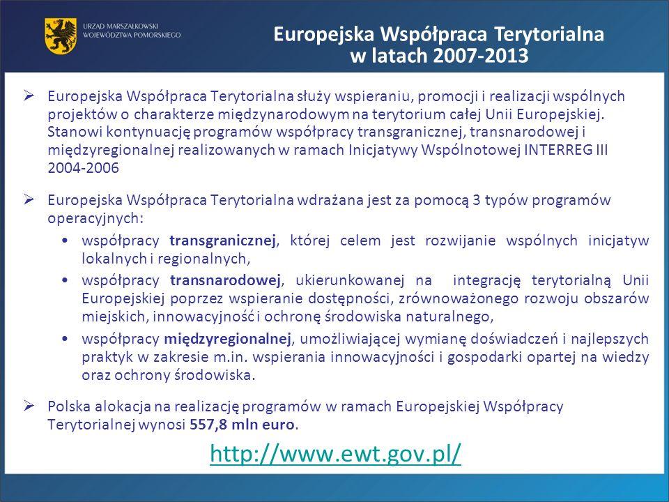 Europejska Współpraca Terytorialna służy wspieraniu, promocji i realizacji wspólnych projektów o charakterze międzynarodowym na terytorium całej Unii