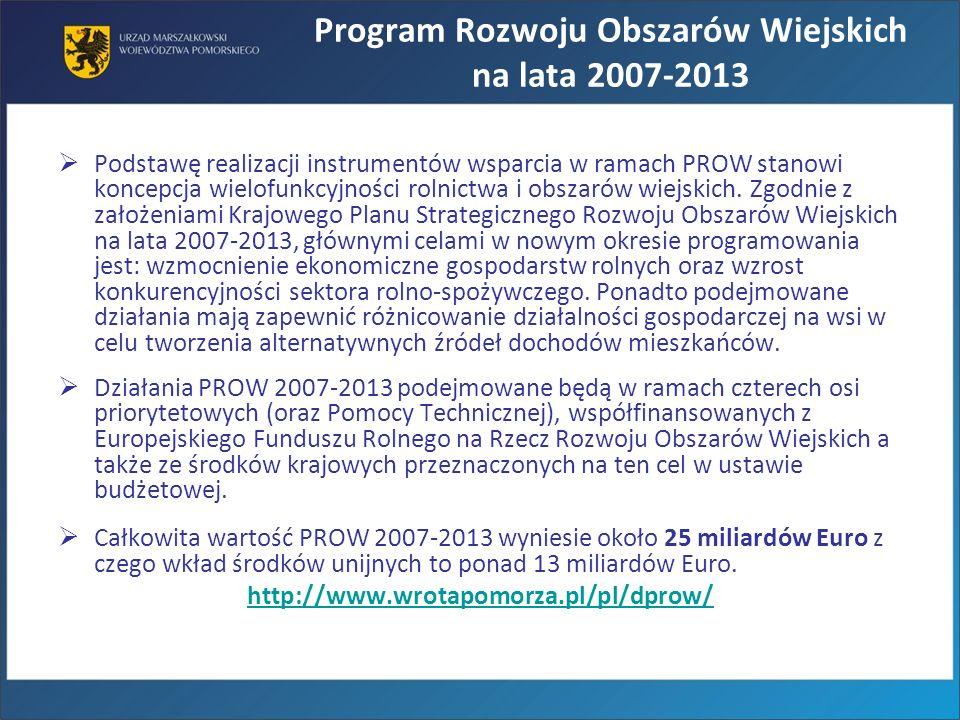 Program Rozwoju Obszarów Wiejskich na lata 2007-2013 Podstawę realizacji instrumentów wsparcia w ramach PROW stanowi koncepcja wielofunkcyjności rolni