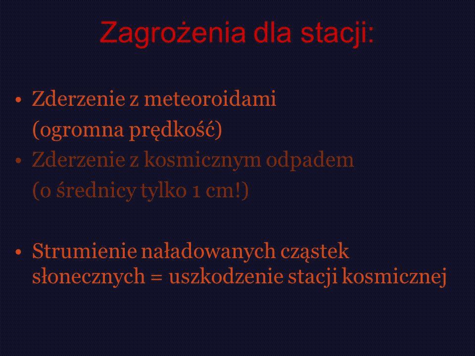 Zagrożenia dla stacji: Zderzenie z meteoroidami (ogromna prędkość) Zderzenie z kosmicznym odpadem (o średnicy tylko 1 cm!) Strumienie naładowanych czą