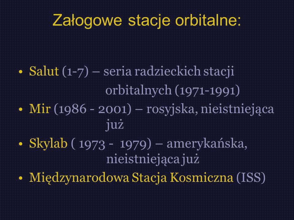 Załogowe stacje orbitalne: Salut (1-7) – seria radzieckich stacji orbitalnych (1971-1991) Mir (1986 - 2001) – rosyjska, nieistniejąca już Skylab ( 1973 - 1979) – amerykańska, nieistniejąca już Międzynarodowa Stacja Kosmiczna (ISS)