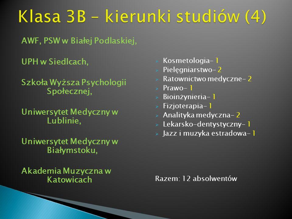 AWF, PSW w Białej Podlaskiej, UPH w Siedlcach, Szkoła Wyższa Psychologii Społecznej, Uniwersytet Medyczny w Lublinie, Uniwersytet Medyczny w Białymsto