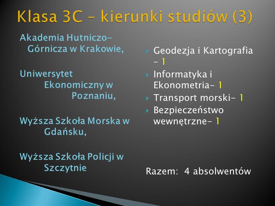 Akademia Hutniczo- Górnicza w Krakowie, Uniwersytet Ekonomiczny w Poznaniu, Wyższa Szkoła Morska w Gdańsku, Wyższa Szkoła Policji w Szczytnie Geodezja