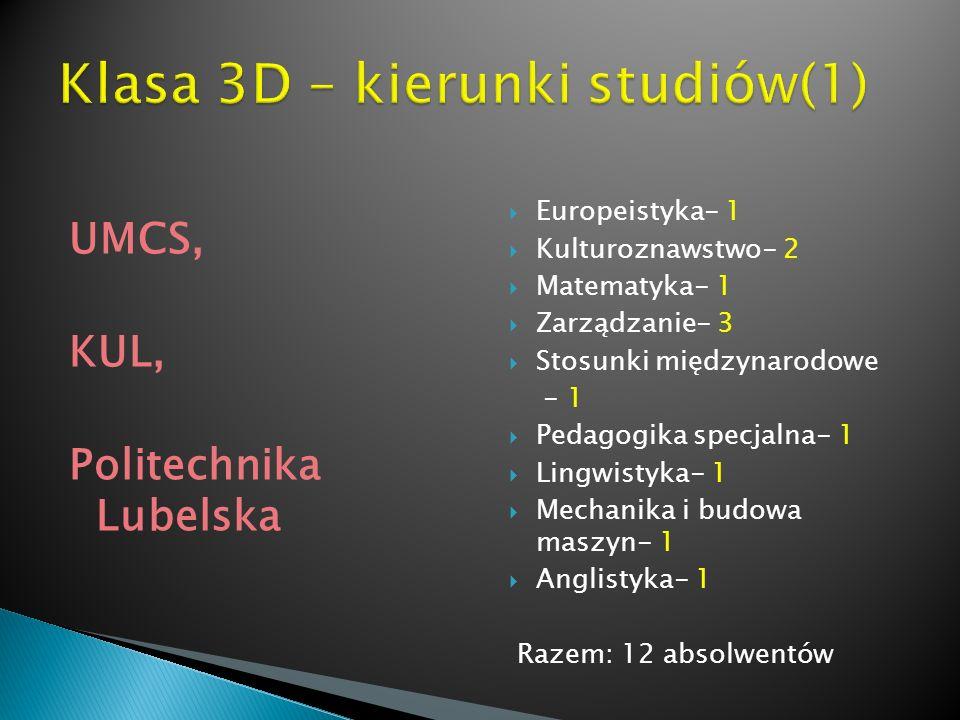 UMCS, KUL, Politechnika Lubelska Europeistyka- 1 Kulturoznawstwo- 2 Matematyka- 1 Zarządzanie- 3 Stosunki międzynarodowe - 1 Pedagogika specjalna- 1 L