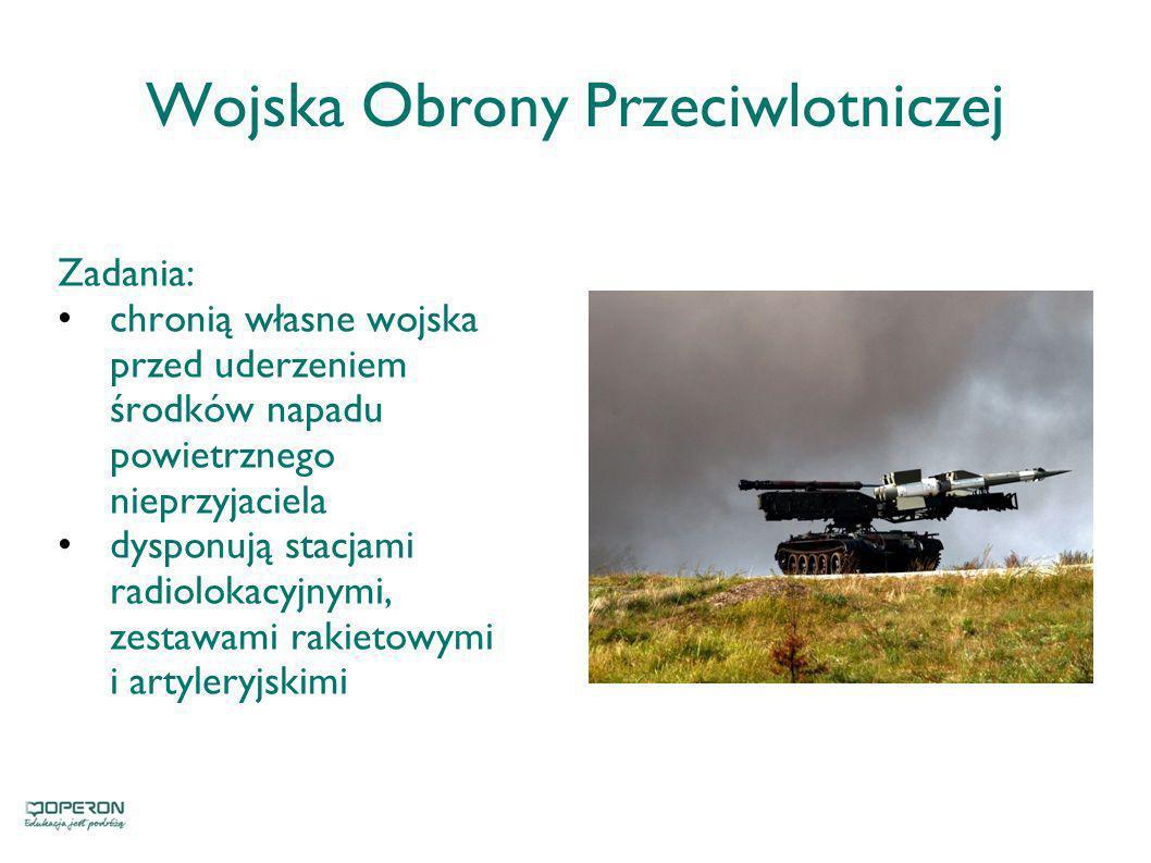 Wojska Obrony Przeciwlotniczej Zadania: chronią własne wojska przed uderzeniem środków napadu powietrznego nieprzyjaciela dysponują stacjami radioloka